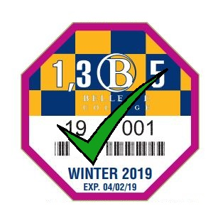 Picture of Winter 2019 Discount Parking Pass, Purple color with green check mark.