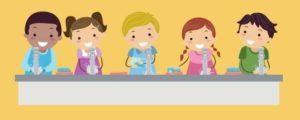 Five children washing their hands