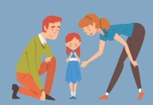two cartoon Caucasian parents and female child