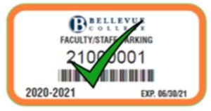 Employee New parking pass orange with a green check