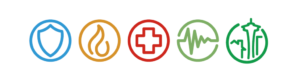 Multi colored icons indicating Seattle, police, fire, medical and heartbeat