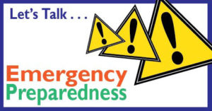 Three yellow Caution sign with words saying Lets talk emergency preparedness