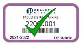 Employee New parking pass purple with a green check
