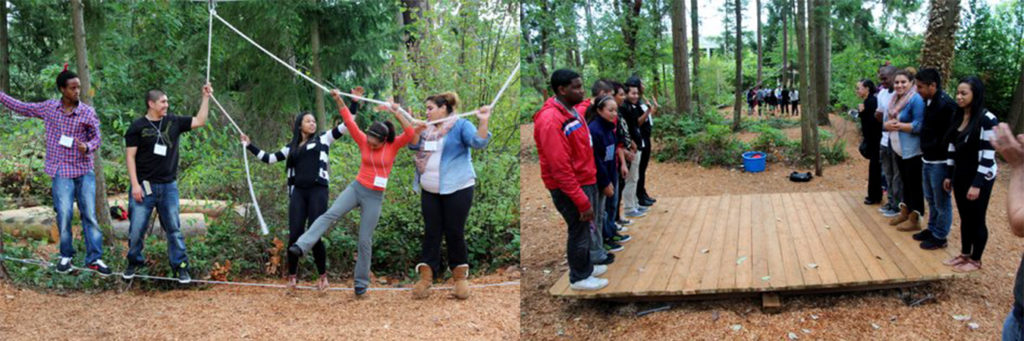 Students on challenge course activity