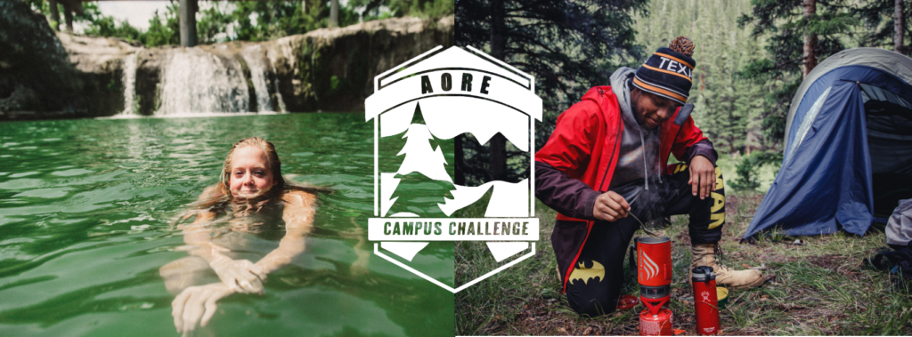 Campus Challenge - Pictures of people outdoors swimming and camping.