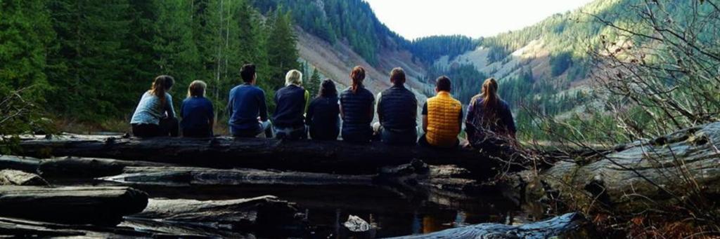 Students sittings at Talapus Lake