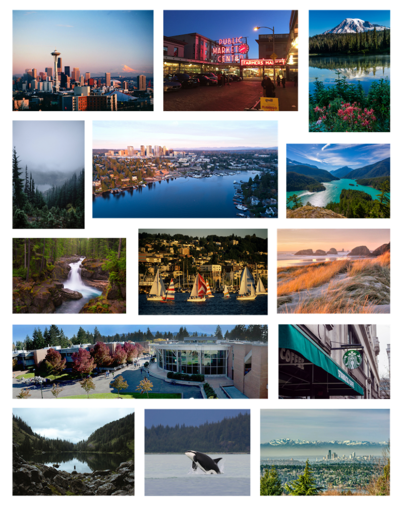 A collage of photos showing the beauty of Seattle and the surrounding area.