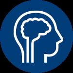 Human head profile with brain