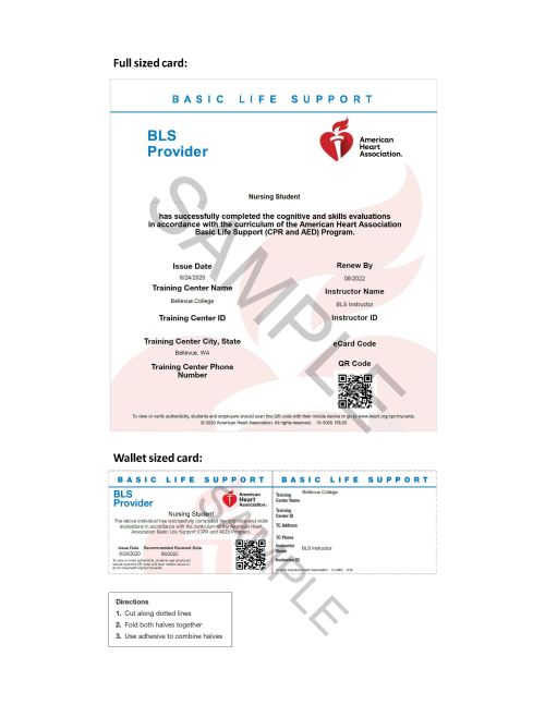 AHA BLS/CPR Card Sample