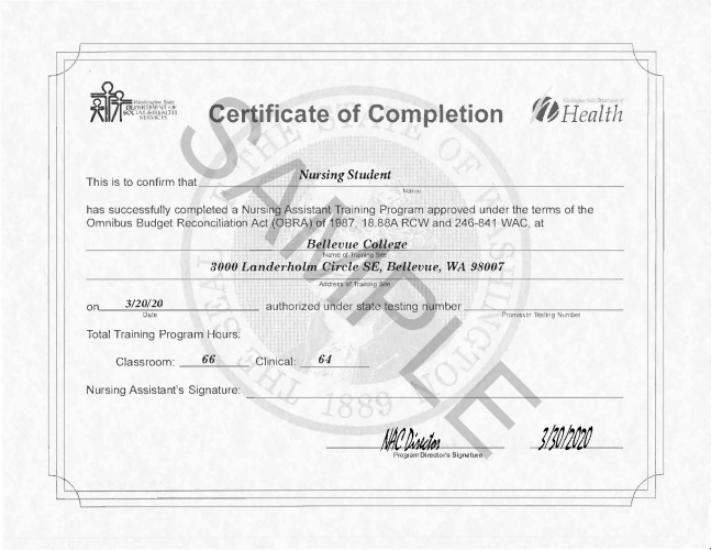 NAC Certificate of Completion Sample