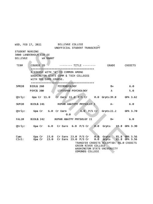 Bellevue College Unofficial Transcript Sample