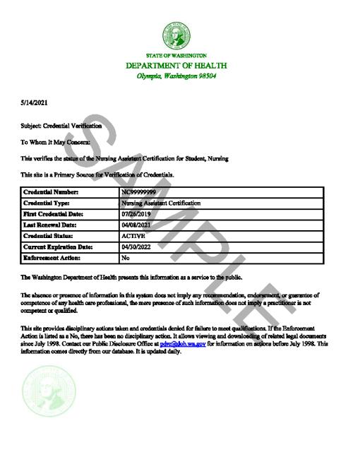 NAC Certification Sample