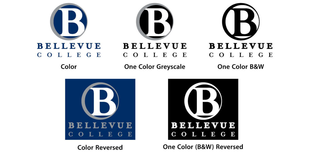 Approved versions of the BC logo in both positive (for use on light backgrounds) and reversed (for use on dark backgrounds)