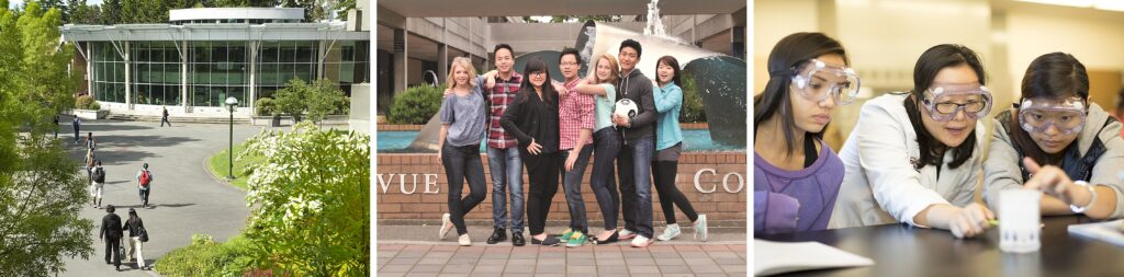 Combined images of BC student union courtyard, students in front of fountain, and science students