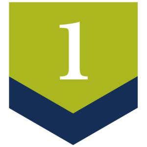 Blue green number 1 arrow