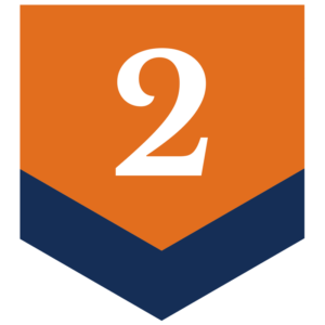 orange down button with number 2 in the middle