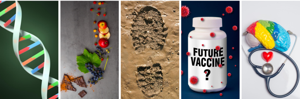 "Five photos from left to right: DNA double helix, various fruits and chocolate, a boot print in mud, pill bottle with ""future vaccine"" written on it, a brain model with a stethoscope."