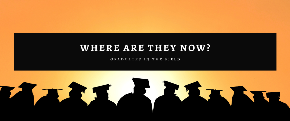 """Silhouette of people wearing graduation caps with the words """"Where are they now? Graduates in the field"""" above the photo."""