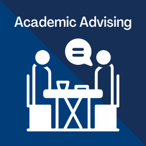 Academic Advising written on blue background with a silhouette of two people talking at a table below the words.