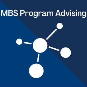 Molecular Biosciences BAS Program Advising written on blue background with a molecular structure symbol below the words.
