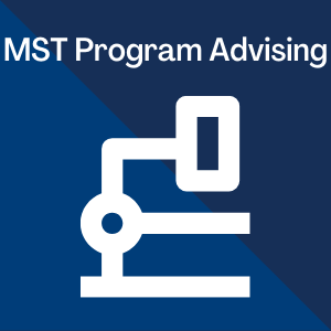 Molecular Sciences Technician AAS-T Program Advising written over blue background with a silhouette of a microscope on it.