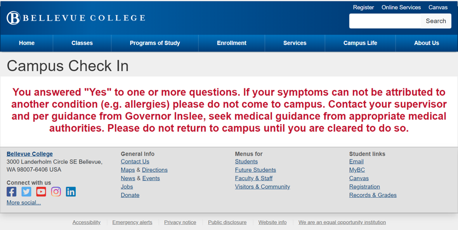Example from the website of the instructions that appear if you have symptoms of covid-19