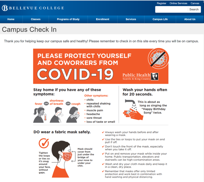 Example from the website of the Campus Check in Main Page Covid-19 Public Health informational sheet