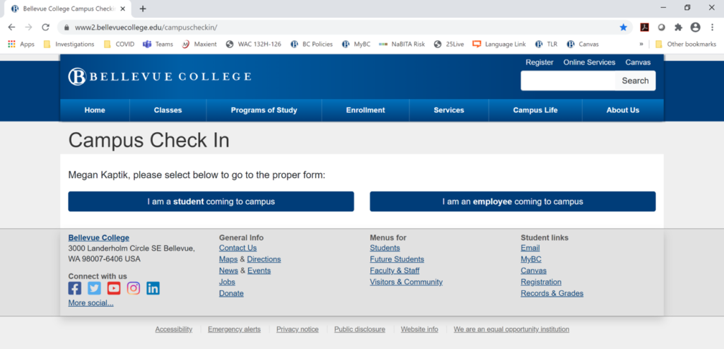 Example from the website of the Campus Check in Main Page