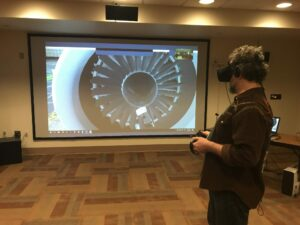 Student in Virtual Reality class