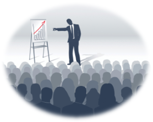 Man in front of group giving a presentation