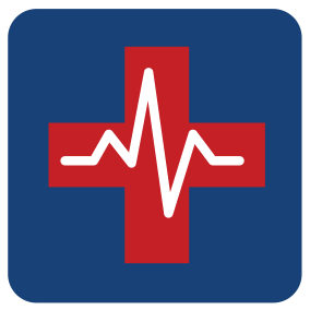 Red Cross with heart monitor