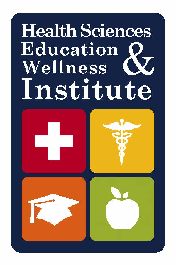 Health Sciences Education & Wellness Institute with icons of red cross, Caduceus, graduation cap, and apple.