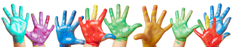 kids hands covered in paint