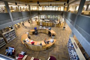 interior lobby of bellevue college library and media center