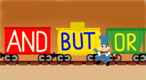 """three trains that say, """"and"""" """"but"""" and """"or"""""""