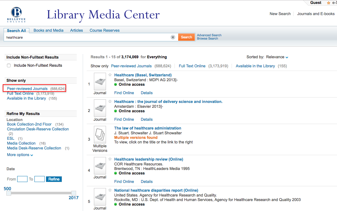 screen shot of bellevue college library database search with peer-reviewed option highlighted