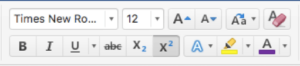 Toolbar from MS Word that shows where to find the superscript button