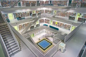 Interior of Stuttgart Library in Germany