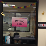 "Photo of the outside of the BC Writing Lab with a sign that says, ""Writing Lab."""
