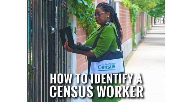Census worker with laptop