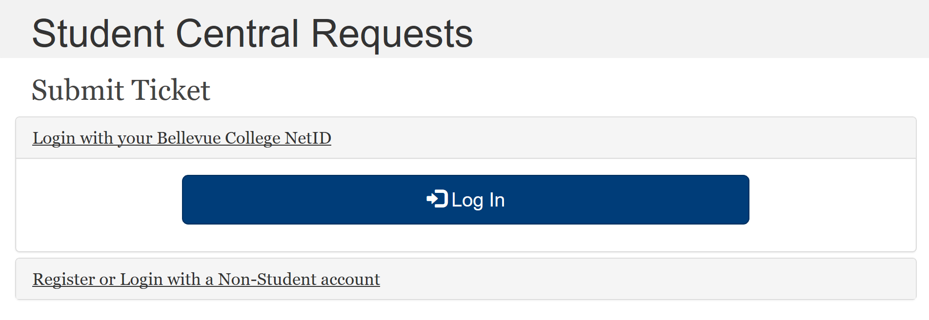 Student Central Request Log In Image