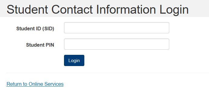 Student COntact Info Login Screen Image