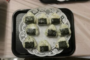Delicious rice balls sold by the Japanese Culture Club