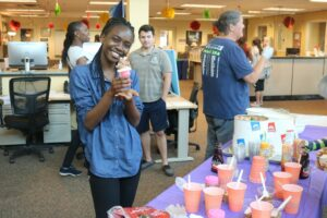 Students cool down with an ice cream social