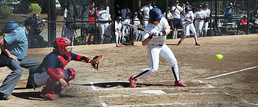 A BC batter takes a swing in a softball game against Lower Columbia
