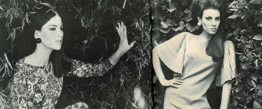 "A 1966 Vogue magazine article, ""Knits to Watch by Girls to Watch: Nicoletta Machiavelli and Raquel Welch,"" featured the young actresses with their own photo spreads"