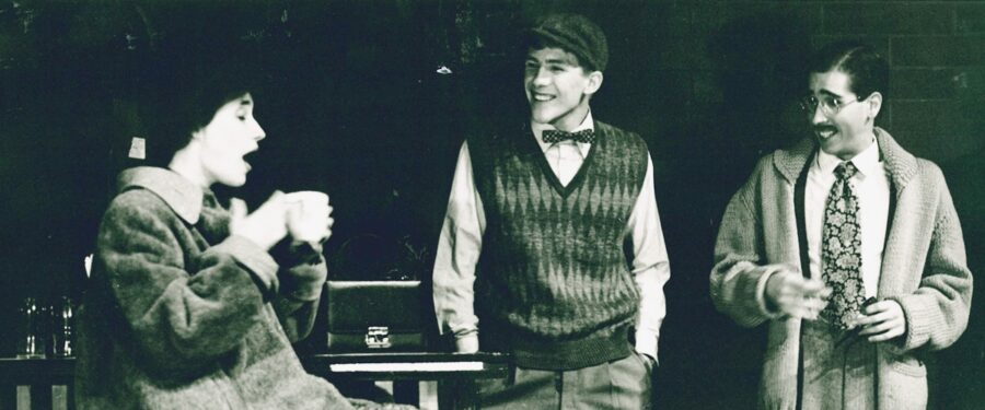 Three actors on stage in a BC theatre production