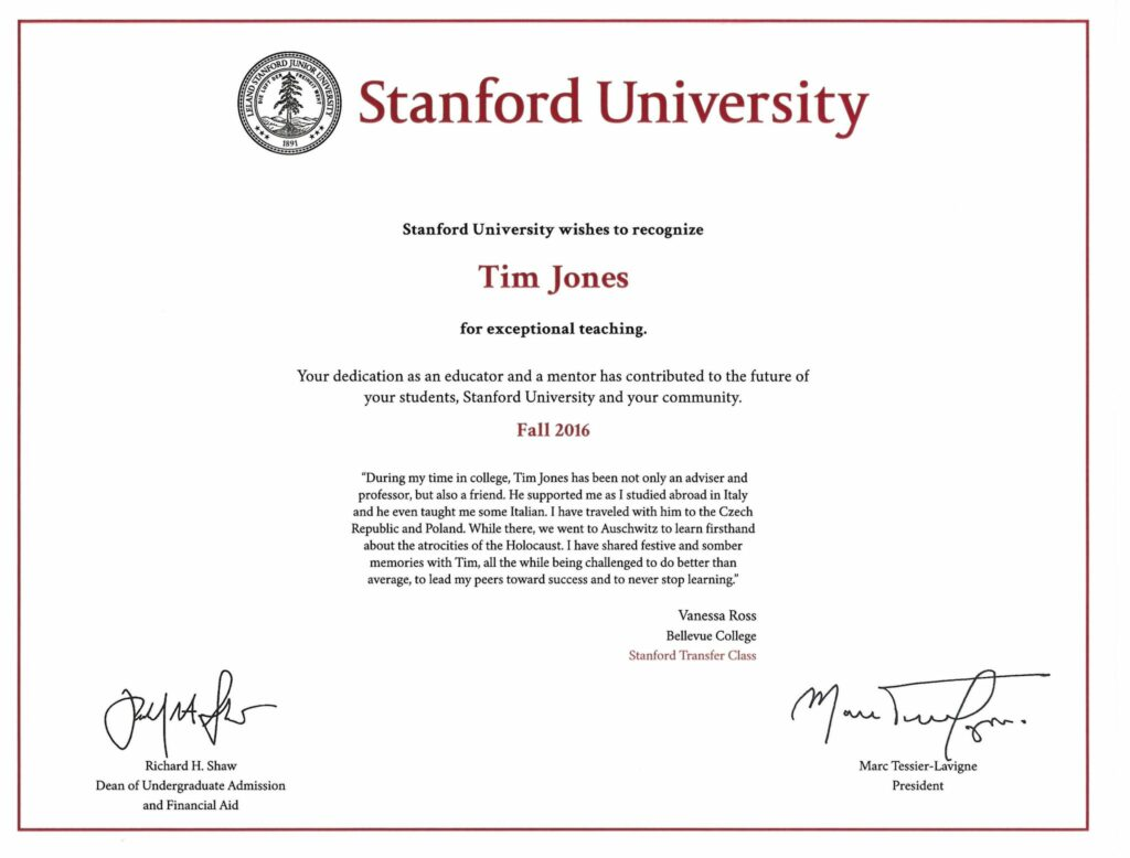 bellevue college faculty recognized by stanford university