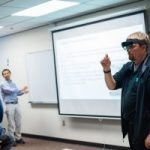 Student wearing VR glasses