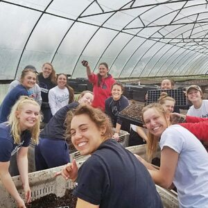 BC softball players and coaches planted seeds at an area farm as part of a community service project